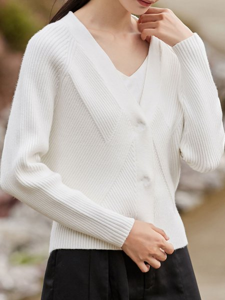 White Buttoned Solid Simple Cardigan
