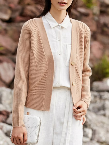 Knitted Simple Long Sleeve Solid Cardigan