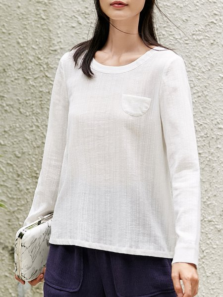 Cotton-blend Crew Neck Long Sleeve Solid Top