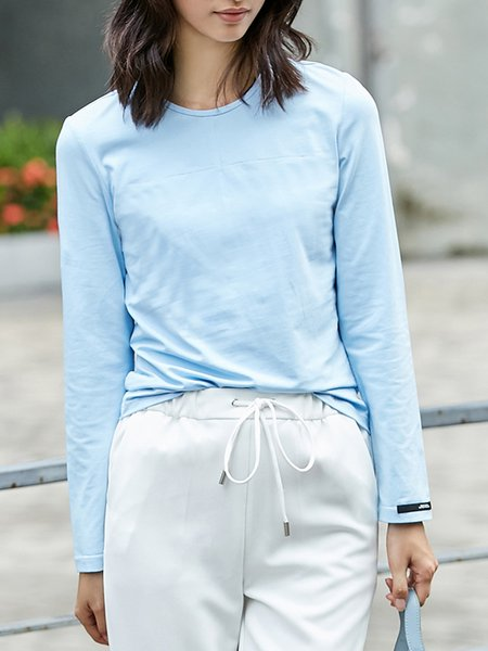 Crew Neck Casual Long Sleeved Top