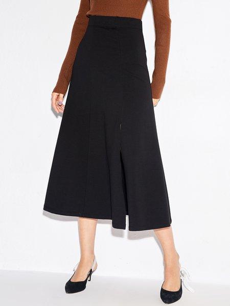 Solid Casual Midi Skirt