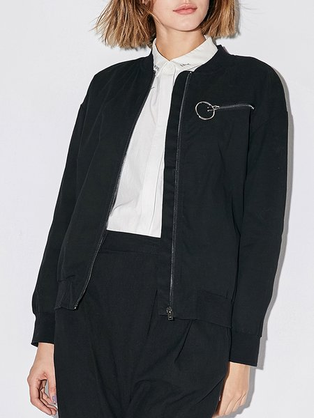 Casual Long Sleeve Cotton Solid JACKET