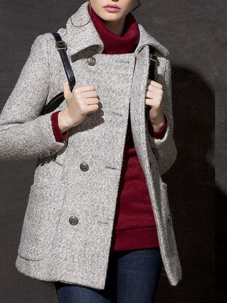 Lapel Casual Solid Pockets Pea Coat