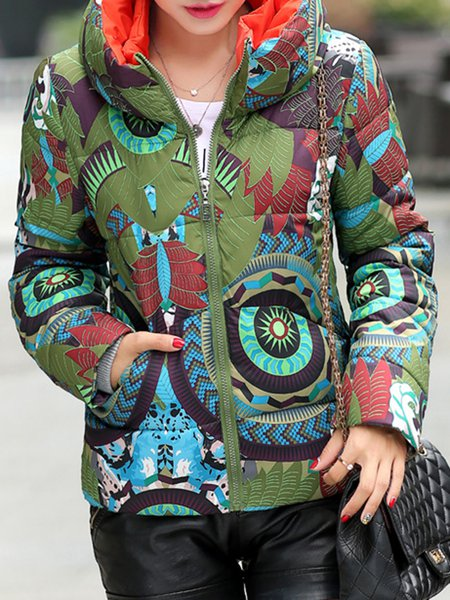 Long Sleeve H-line Abstract Printed Down Coat