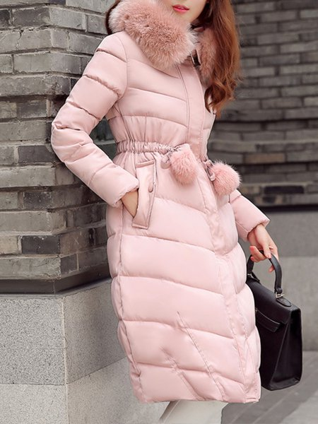 Solid Hoodie Girly Polyester Down Coat
