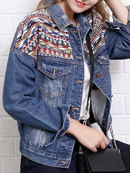 Shirt Collar Long Sleeve Solid Pockets Street Cropped Jacket