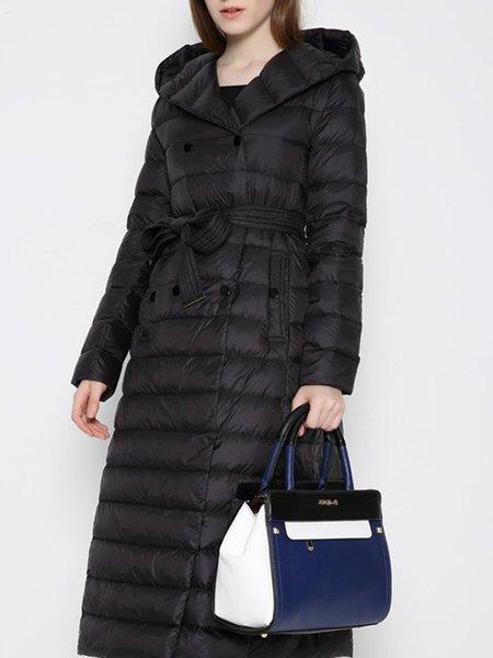 Solid A-line Long Sleeve Hoodie Coat