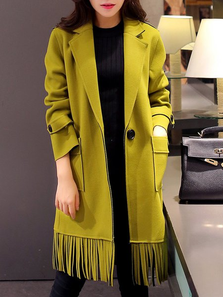 Long Sleeve Fringed Casual Solid Coat