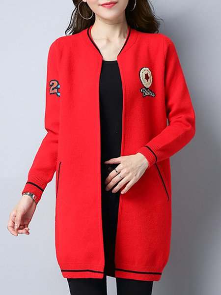 Patch Long Sleeve Solid Cardigan