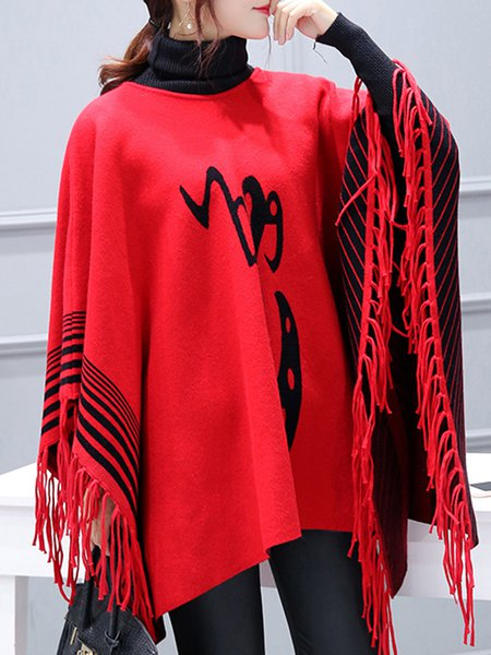 Shift Cape Sleeve Casual Fringed Poncho And Cape