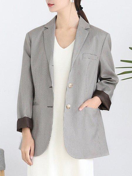 Long Sleeve Checkered/Plaid Pockets Casual Rayon Blazer