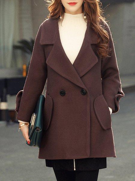 Shawl Collar Casual Solid Coat