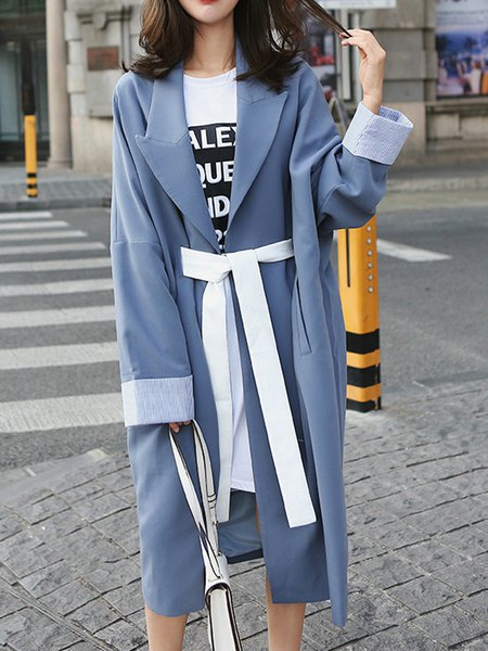Blue Lapel Casual Trench Coat
