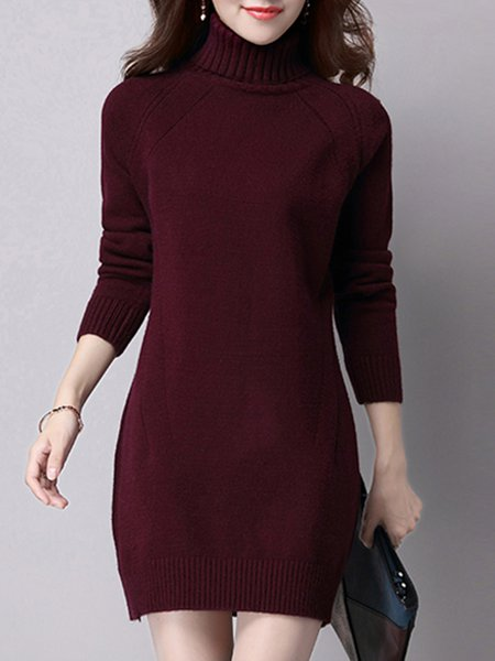 Turtleneck Solid Casual Long Sleeve H-line Midi Dress