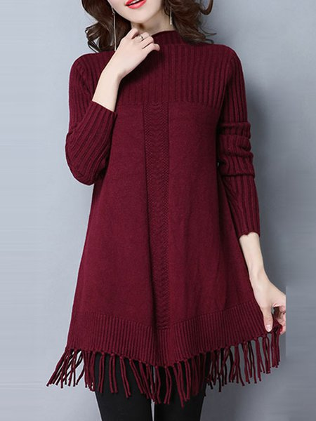 Casual Long Sleeve Stand Collar Solid Wool Sweater