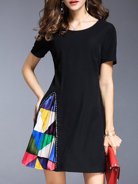Black Paneled Crew Neck A-line Short Sleeve Midi Dress