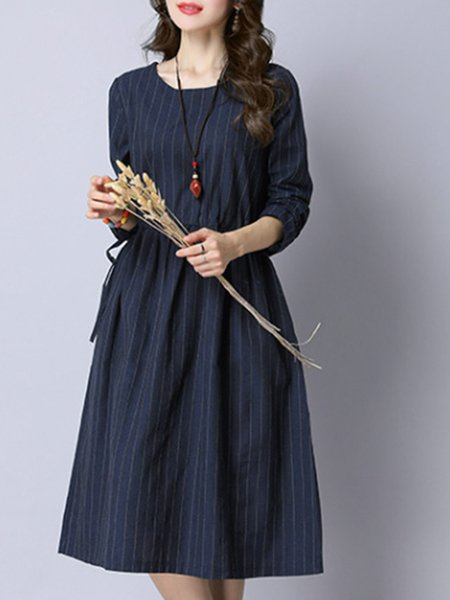 Cotton Casual Long Sleeve A-line Dress