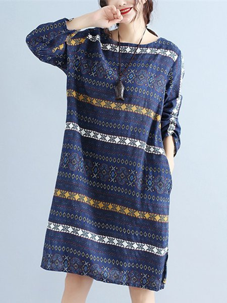 Casual Tribal Printed Crew Neck Linen Dress