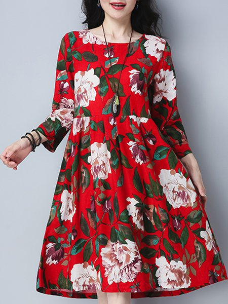 Floral Crew Neck Printed Casual Linen Dress