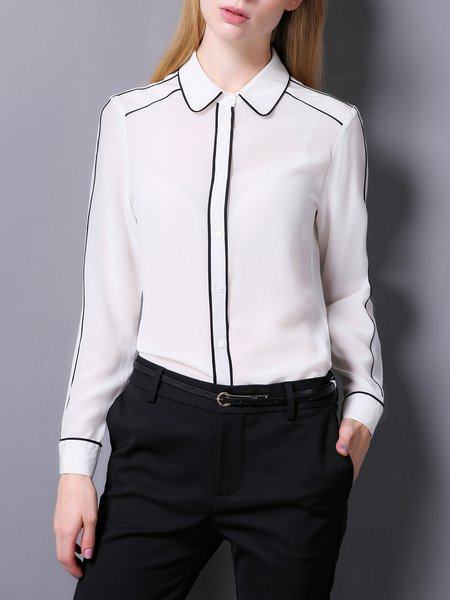 Silk Shirt Collar Long Sleeve Binding Blouse