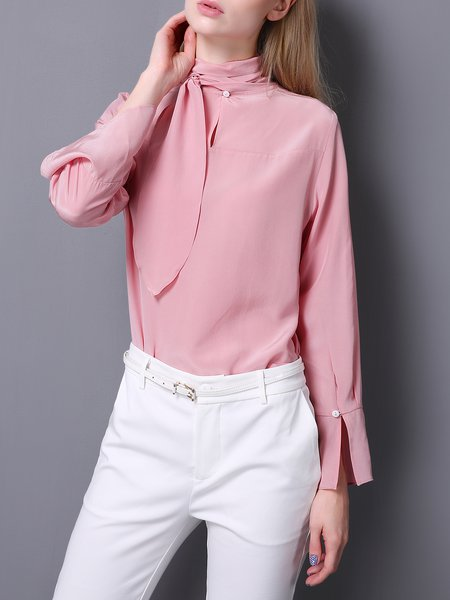 Silk Turtleneck Slit Elegant Long Sleeve Blouse