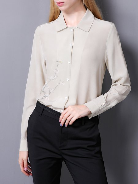 Gray Shirt Collar Long Sleeve Solid Blouse