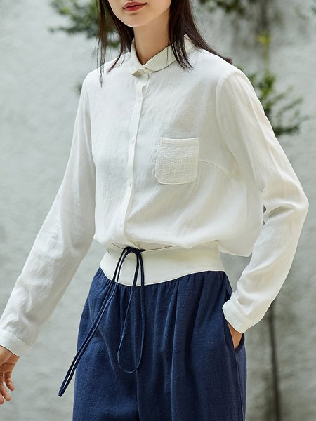 Simple Long Sleeve Shirt Collar Pockets Blouse