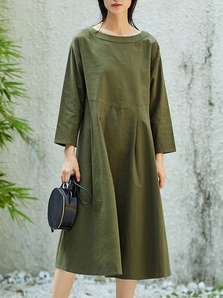 Crew Neck Shift Cotton Simple Midi Dress