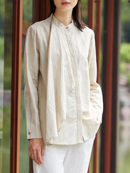 Cotton-blend Simple Asymmetric Long Sleeve Blouse