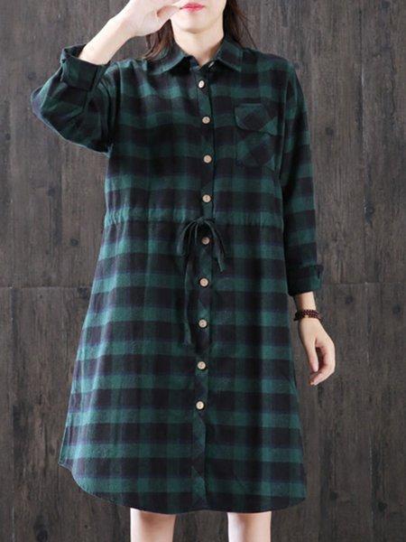 Dark Green Gingham Long Sleeve Linen Dress