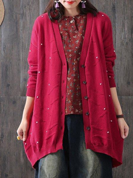 Cotton Casual Long Sleeve Swiss-dot Linen Knitwear
