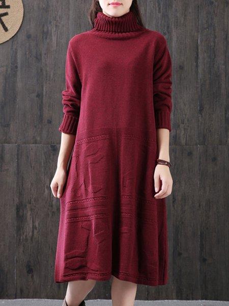 Shift Long Sleeve Knitted Turtle Neck Linen Dress