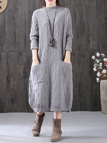 Stand Collar Knitted Cocoon Long Sleeve Linen Dress