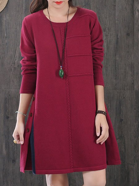 Burgundy Shift Long Sleeve Linen Dress