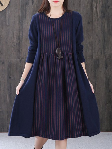 Casual Knitted Crew Neck Linen Dress
