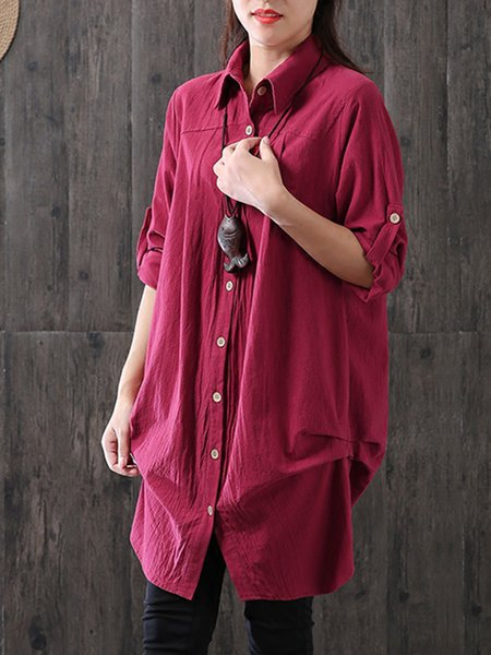 Buttoned Shirt Collar Solid Casual Linen Top