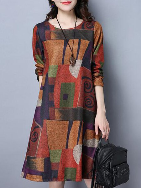 Abstract Printed Long Sleeve A-line Linen Dress