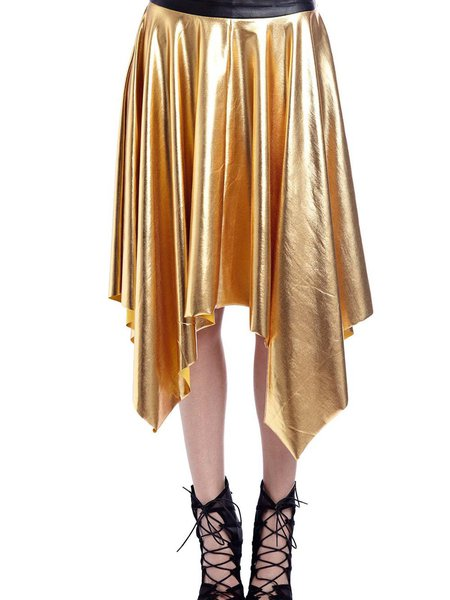 Golden Casual Asymmetrical Pleated Midi Skirt
