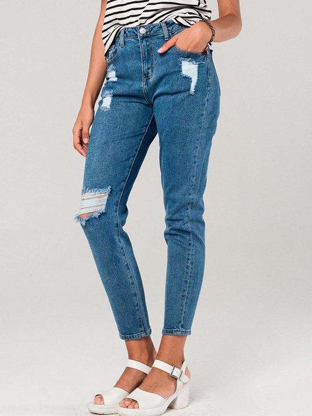 Blue Casual Ripped Skinny Leg Pants