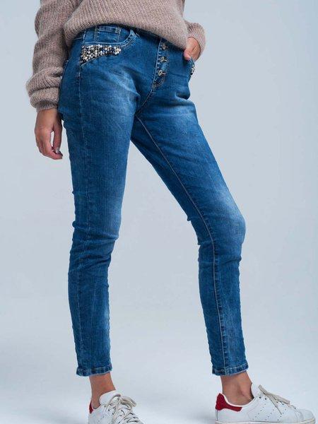 Blue Casual Skinny Leg Pants