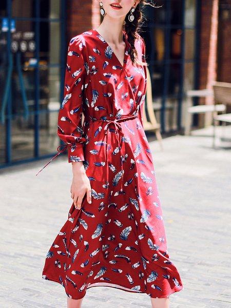 A-line Leaf Print Wrap Elegant Long Sleeve Midi Dress