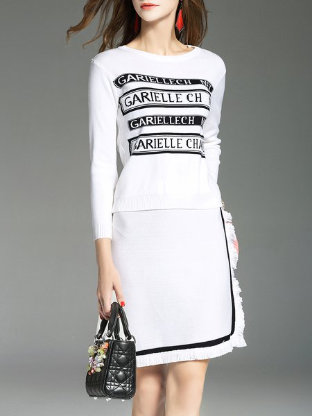 Ruffled Letter Printed Long Sleeve Two Piece Top With Skirt