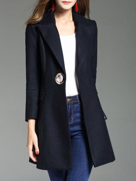 Navy Blue A-line Wool blend Casual Blazer