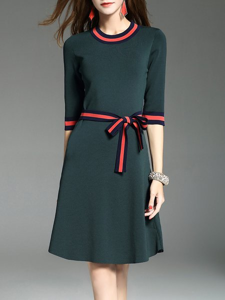 Casual Bow Crew Neck Half Sleeve Knitted A-line Midi Dress
