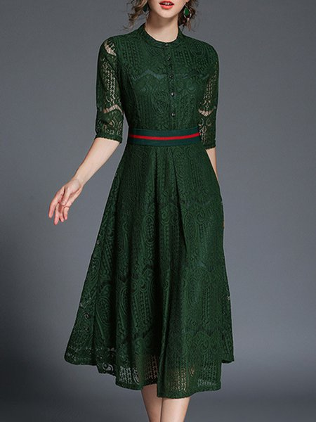 Solid Elegant Stand Collar Short Sleeve Guipure Lace Midi Dress