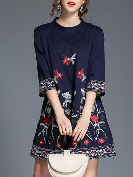 Navy Blue Stand Collar Casual Embroidered  Midi Dress