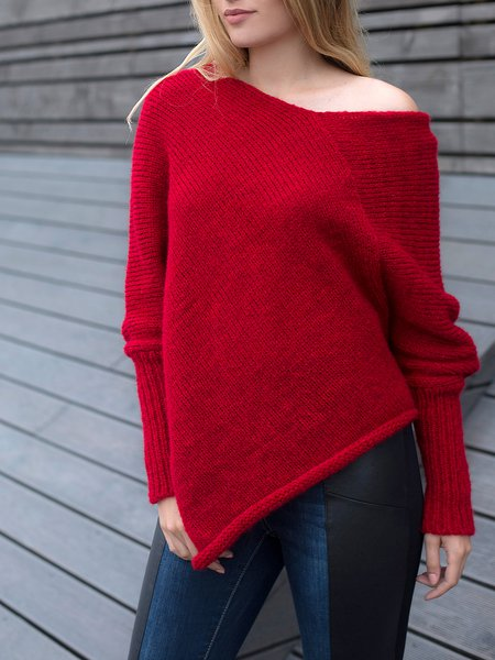 V Neck Long Sleeve Asymmetrical Casual Sweater