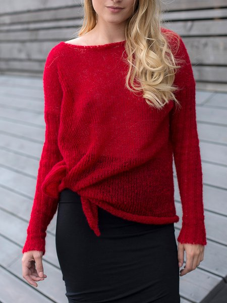Long Sleeve Crew Neck Casual Knitted Sweater
