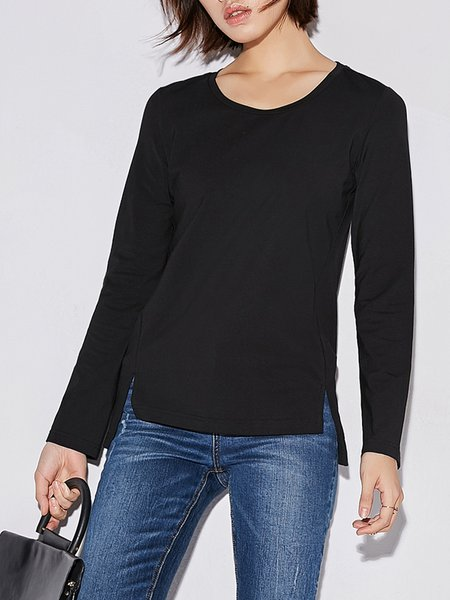 Casual Crew Neck Solid T-Shirt