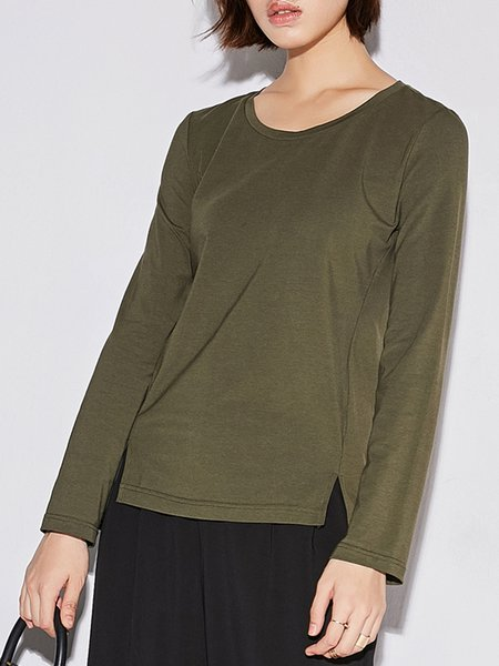 Spandex Long Sleeve Casual Crew Neck Slit T-Shirt